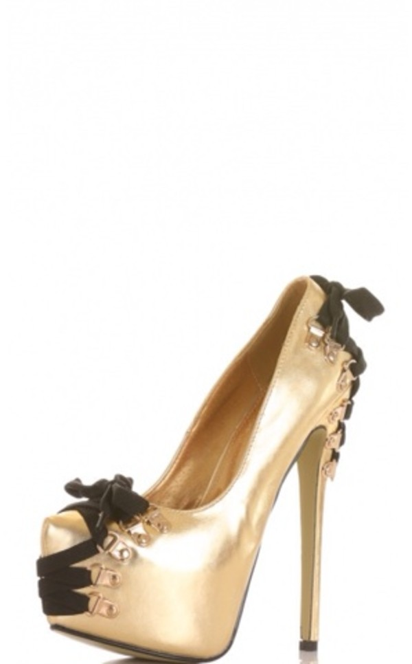 shoes gold high heels strapps bow