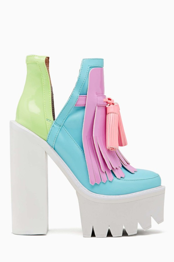 shoes platform shoes chunky heel colorful shoes