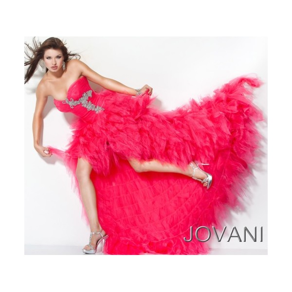 Jovani High Low Feathered Tulle Prom Dress 171731 - Last Gown   Shop prom dresses by top designers Sherri Hill, Jovani, La Femme & More
