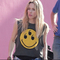 Three-eyed smiley face muscle t-shirt