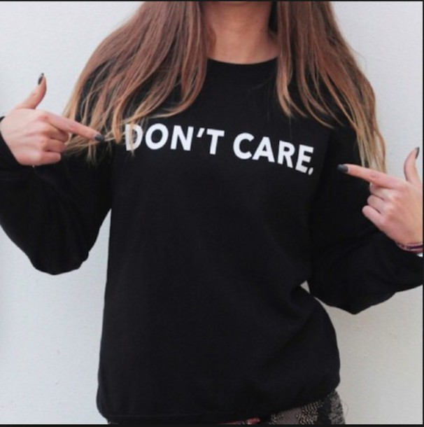 sweater don't care black sweater