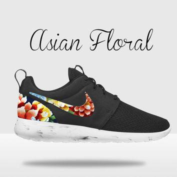 Custom Nike Roshe Run, Floral Nike Roshe Run, Black and White Nike Floral Roshe, Floral Roshe, Roshe Run, Floral Nike Roshe Run on Wanelo