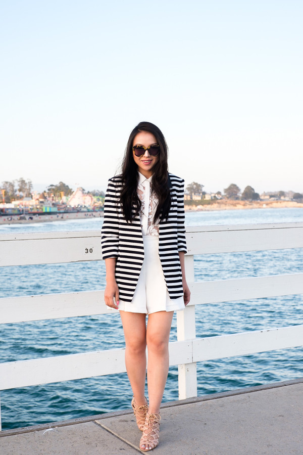 the fancy pants report shorts striped coat