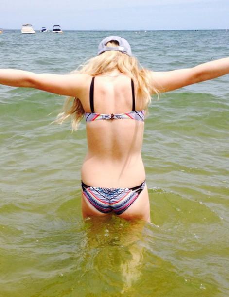 swimwear tribal pattern bikini bikini bottoms bikini top hat beach