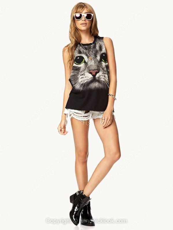 tank top print top cat print shirt printed t-shirt tunic top print tunic summer top print tank top cats