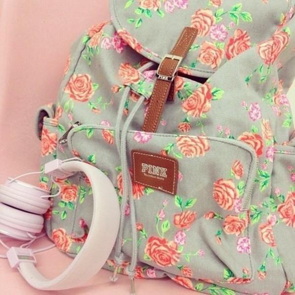 bag victoria's secret backpack pink by victorias secret floral backpack floral fashion cute blue bag