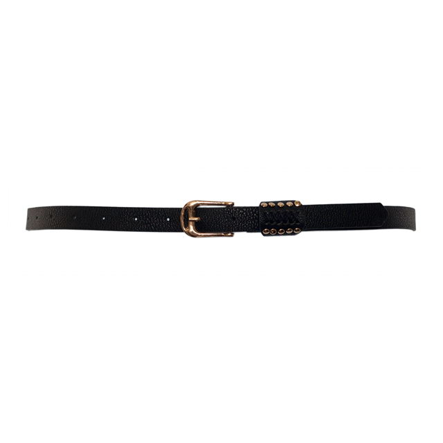 Plus Size Metal Stud Detailed Gold Buckle Skinny Belt Black