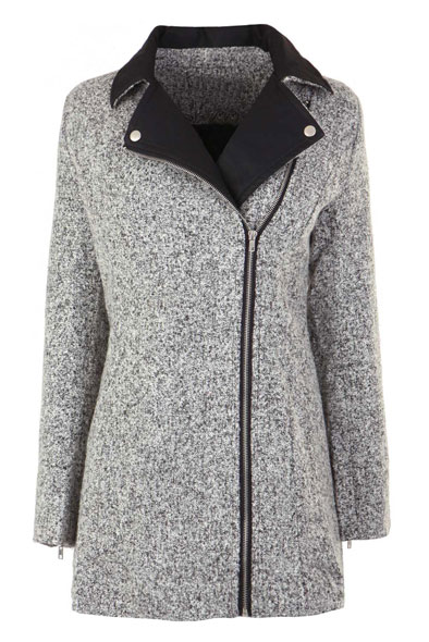 Nanette Wool Coat with PU collar in Grey at Fashion Union