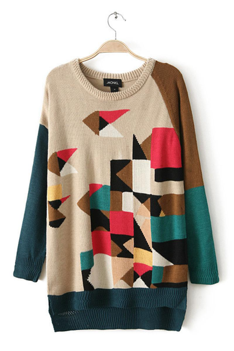 Colorful Joint Irregular Hem Long Sections Hooded Sweater,Cheap in Wendybox.com