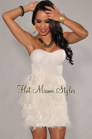 Ivory Faux-Feather Dress