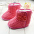 Kids Woolen Yam Knit Fur Snow Boots Toddler Knit Bowknot Faux Fleece Soft Sole | eBay