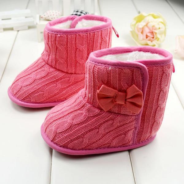 Kids Woolen Yam Knit Fur Snow Boots Toddler Knit Bowknot Faux Fleece Soft Sole | eBay