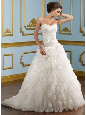 Buy Stylish Scoop Neckline Ball Gown Sweep Train Tulle Wedding Dress under 400-SinoAnt.com