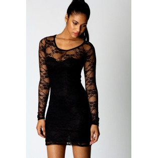 SEXY WOMENS LADIES BLACK FLORAL LACE LONG SLEEVE BODYCON DRESS