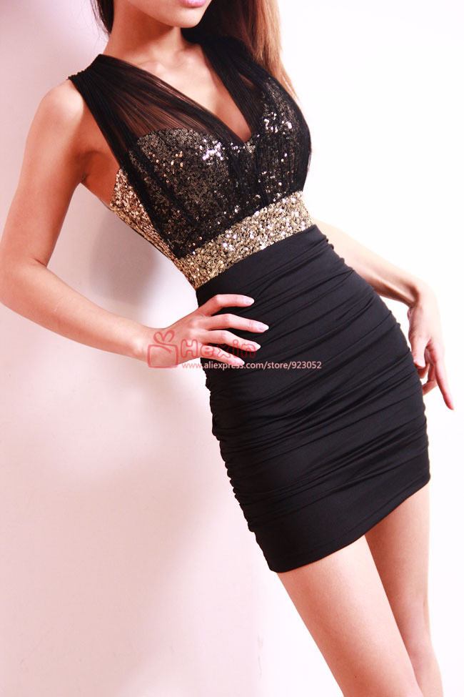 Free Shipping 2013 Sexy Lace Dress Short Tight  Mini Luxury Club Satin Women Clothes sequined Party Evening black dresses-in Dresses from Apparel & Accessories on Aliexpress.com