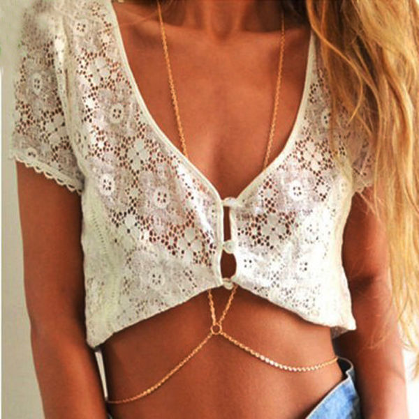 Ladies Bikini Crossover Harness Waist Belly Body Chain Necklace Body Jewelry | eBay