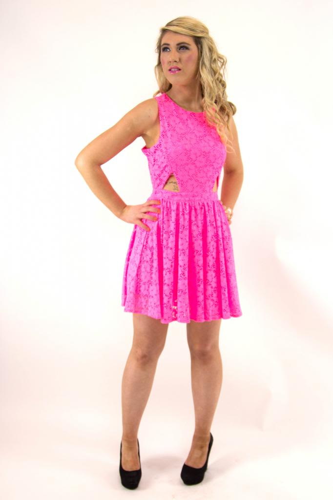 Ladies Neon Pink Skater Dress with Cut Out Detail | eBay