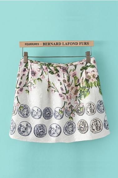 Floral Pattern Fashion Skirt