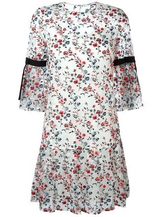 dress shift dress sheer floral white