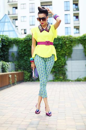 macademian girl top shoes belt jewels t-shirt sunglasses bag yellow t-shirt