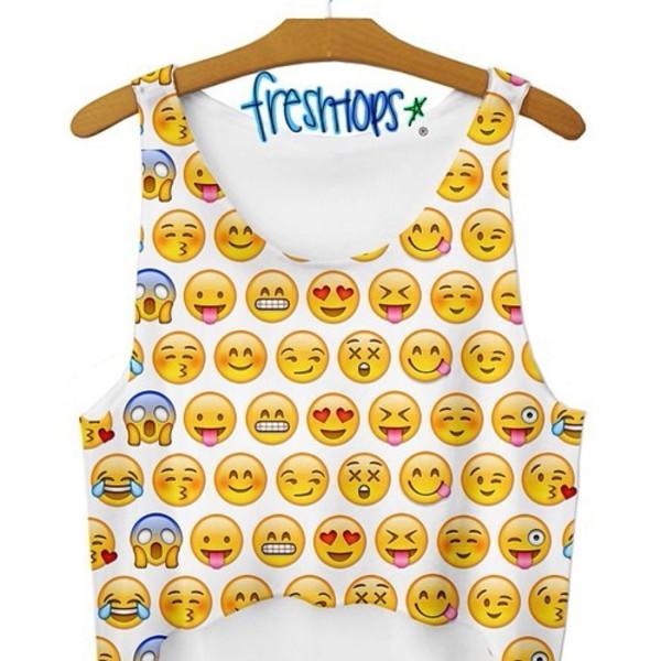 tank top shirt emoji print crop tops fashion