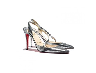 shoes silver pumps straps louboutin high heels nicole richie