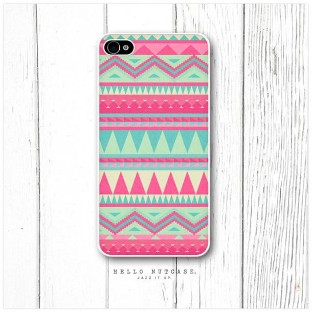 jewels phone cover pink blue navajo