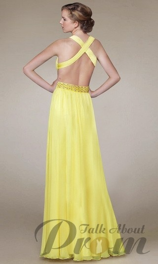 Yellow Sexy Open Back V-neck Long Prom Dress TPD184 ... | prom dresse…