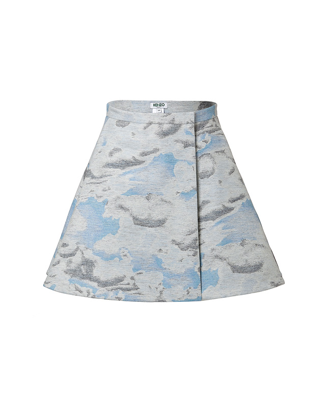 Wool-Silk Blend Cloud Print Mini-Skirt from KENZO | Luxury fashion online | STYLEBOP.com