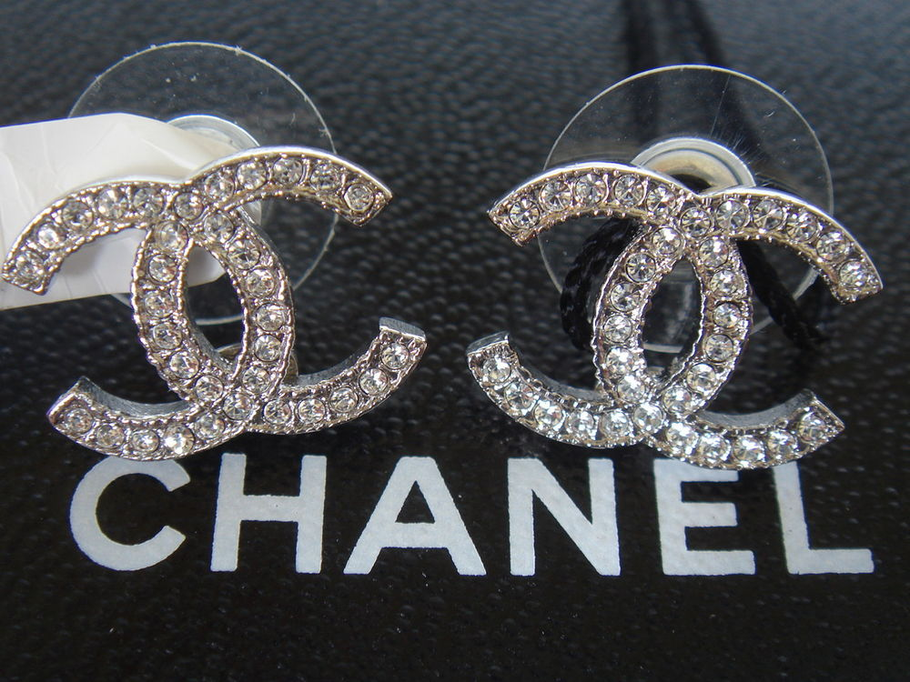 Authentic Brand New Silver Chanel Large Cc Logo Crystal