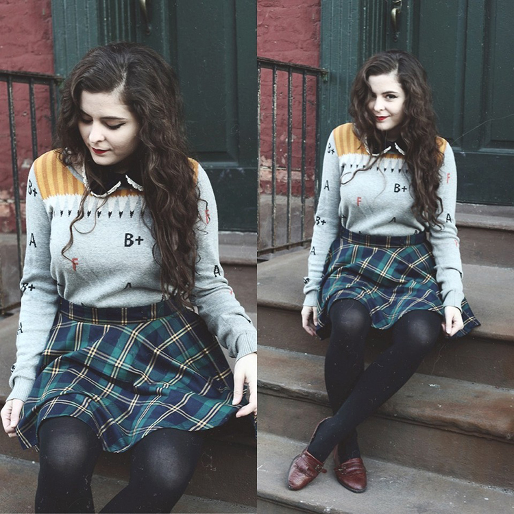 Green Plaid Check Skater Skirt  - Retro, Indie and Unique Fashion