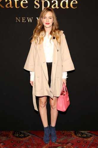 skirt top coat ankle boots leighton meester ny fashion week 2017 fashion week 2017 nyfw 2017