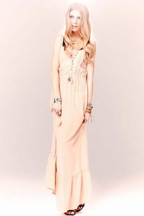 Twelfth Street by Cynthia Vincent Ruffle Hem Maxi Dress in Blush