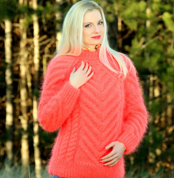 sweater hand knit made crewneck supertanya cable mohair angora wool cashmere alpaca soft fluffy fluffy coral