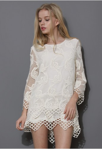 Ivory Wavy Tiered Crochet Dress - Retro, Indie and Unique Fashion