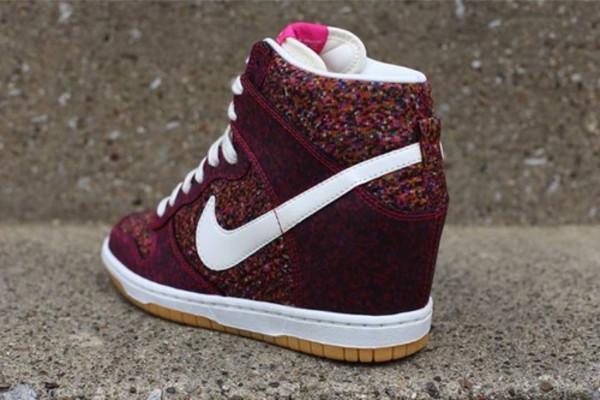 shoes nike wedge sneakers red burgundy nike x liberty