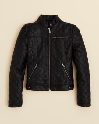 AQUA Girls' Faux Leather Quilted Jacket - Sizes S-XL | Bloomingdale's