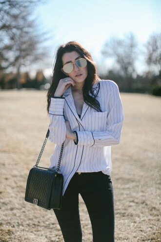 themiddlecloset blogger blouse jeans shoes sunglasses underwear bag shirt chanel bag black jeans
