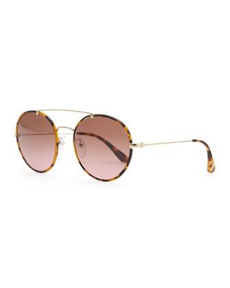 Prada Catwalk Round Aviator Sunglasses