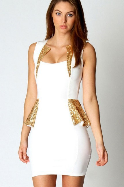Free Shipping Europe and America Style Charming Sequin Trim Detail Embellishment Peplum Dress White-in Dresses from Apparel & Accessories on Aliexpress.com