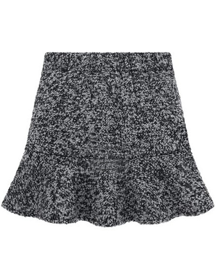 Light Grey High Waist Ruffle Woolen Skirt - Sheinside.com