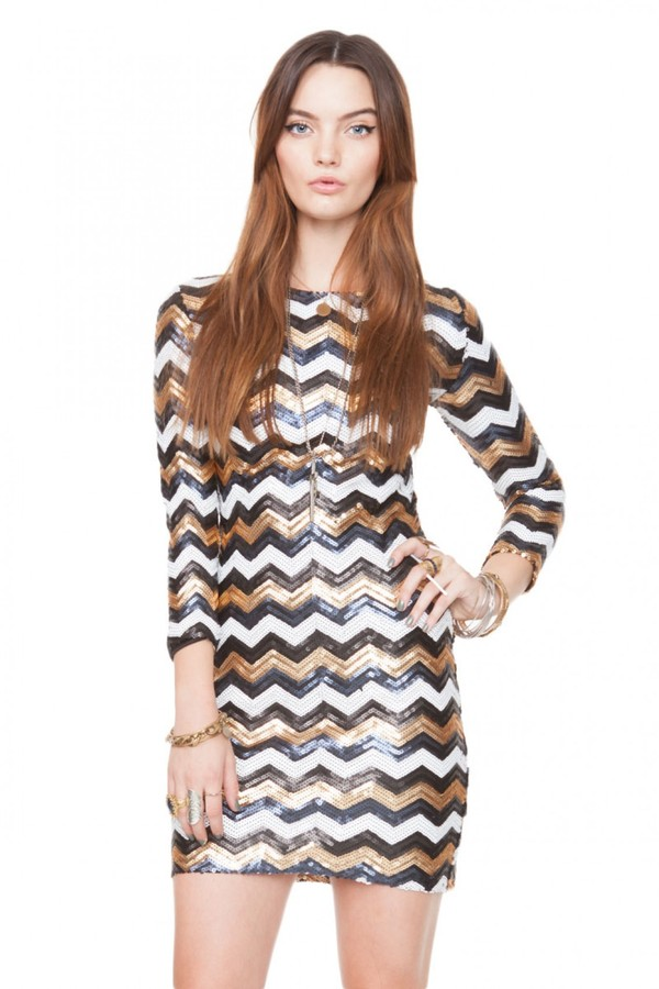 dress party wave sequins mini date outfit night bronze black white chevron zig zag vanityv vanity row dress to kill