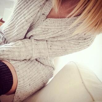 dress sweater sweater dress white dress knee high socks overknee overknees