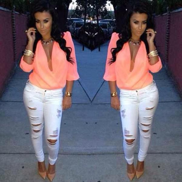 blouse pants peach top plunge v neck