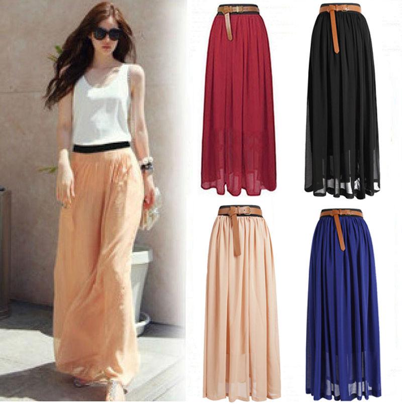 New Women Double Layer Chiffon Pleated Retro Long Maxi Dress Elastic Waist Skirt | eBay