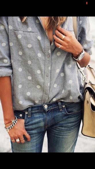 blouse dots style dotted vintage babyblue