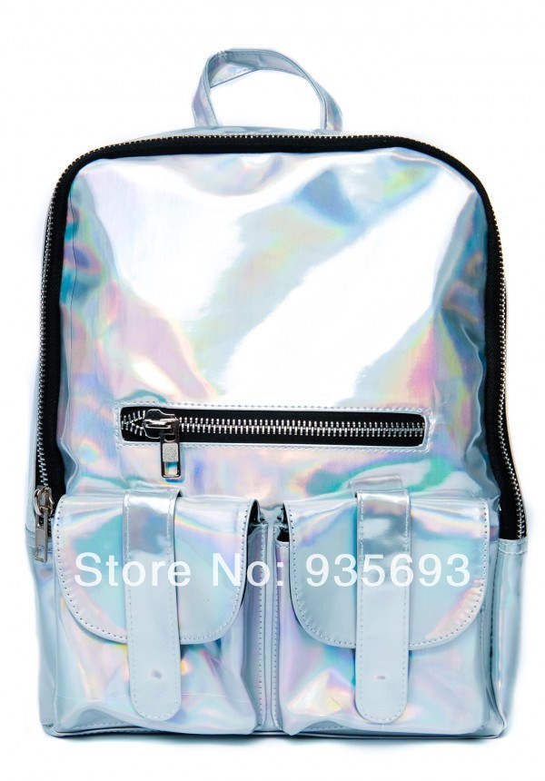 Silver Hologram Backpack Shoulder Message Bag Daily Backpack Black Zipper PU Hologram Laser Bag-in Casual Daypacks from Luggage & Bags on Aliexpress.com