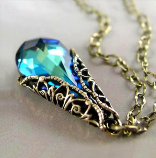 jewels necklace stone aqua vintage retro grunge goth pastel goth goth lolita hipster goth hipster