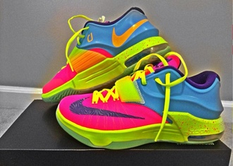 shoes colorful running shoes kds style rainbow nike nike sneakers nike id nike running shoes sneakers multicolor multicolor sneakers kd 7s customized kds 6