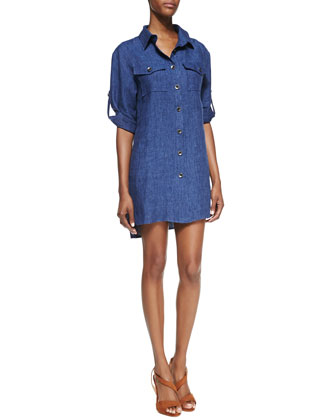 Milly Chambray Linen Shirtdress
